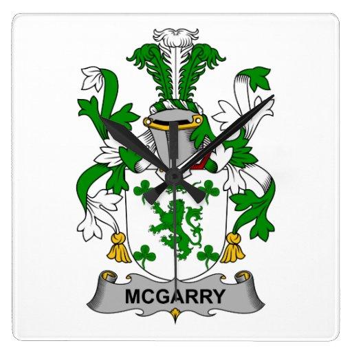 Escudo de la familia de McGarry Reloj Cuadrado