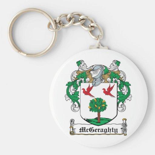 Escudo de la familia de McGeraghty Llavero Redondo Tipo Pin