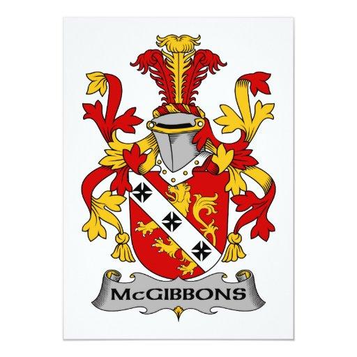 """Escudo de la familia de McGibbons Invitación 5"""" X 7"""""""