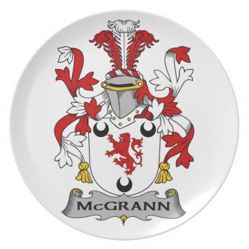 Escudo de la familia de McGrann Platos De Comidas