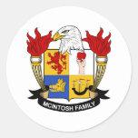 Escudo de la familia de McIntosh Pegatina Redonda
