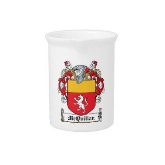 Escudo de la familia de McQuillan Jarra Para Bebida