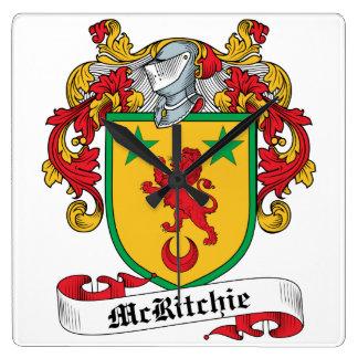 Escudo de la familia de McRitchie Reloj Cuadrado