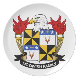 Escudo de la familia de McTavish Plato Para Fiesta