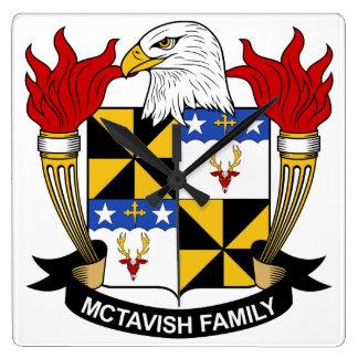 Escudo de la familia de McTavish Reloj Cuadrado