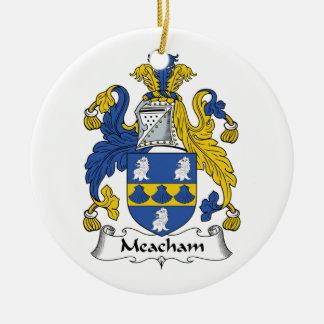 Escudo de la familia de Meacham Adorno Redondo De Cerámica