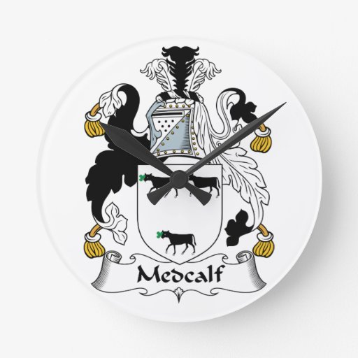 Escudo de la familia de Medcalf Reloj De Pared