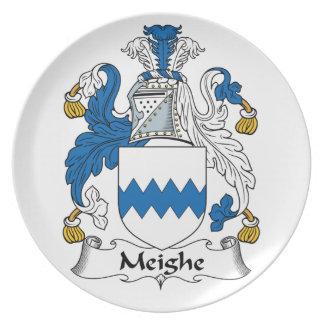 Escudo de la familia de Meighe Platos Para Fiestas