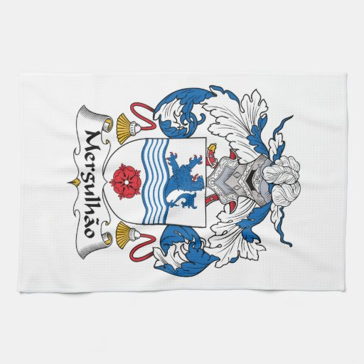Escudo de la familia de Mergulhao Toallas De Cocina