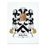 Escudo de la familia de Merlet Invitación 16,5 X 22,2 Cm