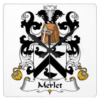 Escudo de la familia de Merlet Reloj Cuadrado