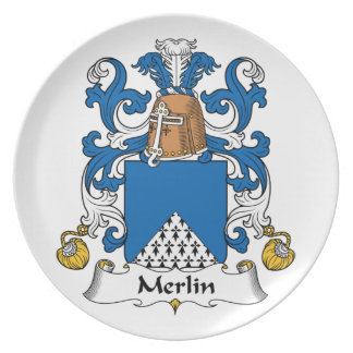 Escudo de la familia de MERLIN Platos De Comidas
