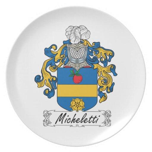Escudo de la familia de Micheletti Platos De Comidas