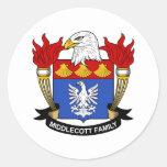 Escudo de la familia de Middlecott Pegatina Redonda