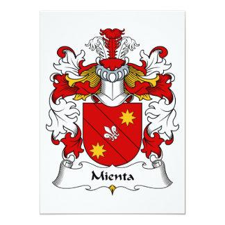 Escudo de la familia de Mienta Invitación 12,7 X 17,8 Cm