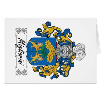 Escudo de la familia de Migliorini Tarjeta De Felicitación