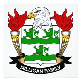 Escudo de la familia de Milligan Invitación 13,3 Cm X 13,3cm
