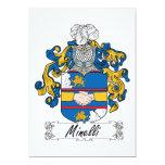 Escudo de la familia de Minelli Invitación 12,7 X 17,8 Cm