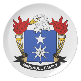 Escudo de la familia de Minshull Platos Para Fiestas