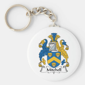 Escudo de la familia de Mitchell Llavero Redondo Tipo Pin