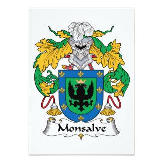 Escudo de la familia de Monsalve Invitación 12,7 X 17,8 Cm