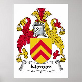 Escudo de la familia de Monson Posters
