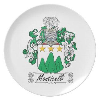 Escudo de la familia de Monticelli Plato Para Fiesta