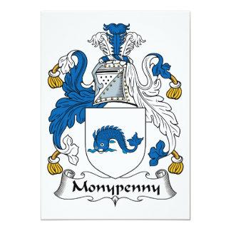 Escudo de la familia de Monypenny Invitación 12,7 X 17,8 Cm