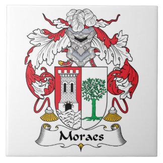 Escudo de la familia de Moraes Azulejo Cuadrado Grande