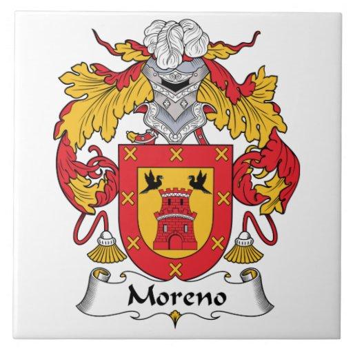 Escudo de la familia de Moreno Azulejo Cuadrado Grande