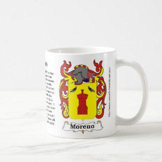 Escudo de la familia de Moreno en una taza
