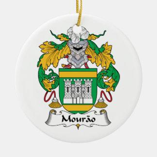 Escudo de la familia de Mourao Adorno Navideño Redondo De Cerámica