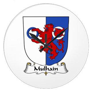 Escudo de la familia de Mulhain Relojes De Pared