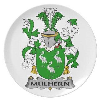 Escudo de la familia de Mulhern Platos Para Fiestas