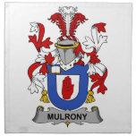 Escudo de la familia de Mulrony Servilleta Imprimida