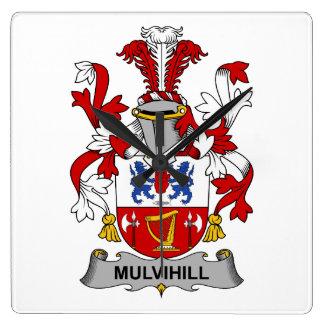 Escudo de la familia de Mulvihill Reloj Cuadrado