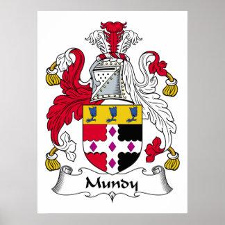 Escudo de la familia de Mundy Póster