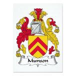 Escudo de la familia de Munson Invitación 12,7 X 17,8 Cm