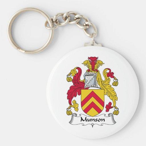 Escudo de la familia de Munson Llaveros Personalizados
