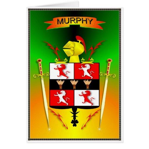 ESCUDO DE LA FAMILIA DE MURPHY TARJETA DE FELICITACIÓN
