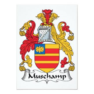 """Escudo de la familia de Muschamp Invitación 5"""" X 7"""""""