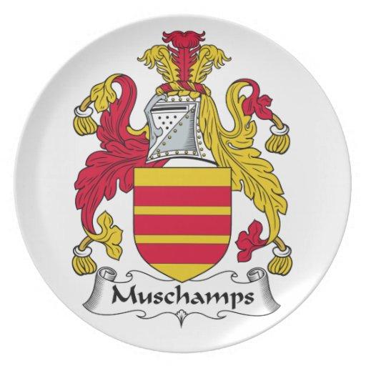 Escudo de la familia de Muschamps Plato De Comida
