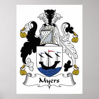 Escudo de la familia de Myers Posters