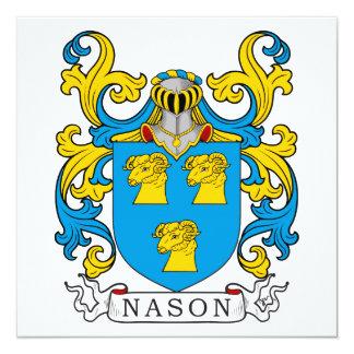 Escudo de la familia de Nason Invitación 13,3 Cm X 13,3cm