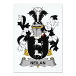 Escudo de la familia de Neilan Invitación 12,7 X 17,8 Cm