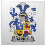 Escudo de la familia de Neill Servilleta Imprimida