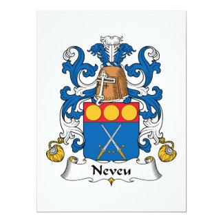 """Escudo de la familia de Neveu Invitación 6.5"""" X 8.75"""""""