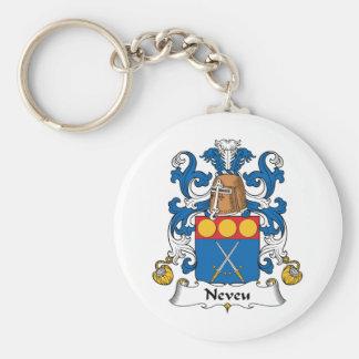 Escudo de la familia de Neveu Llavero Redondo Tipo Pin