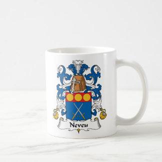 Escudo de la familia de Neveu Taza Básica Blanca