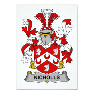 """Escudo de la familia de Nicholls Invitación 5"""" X 7"""""""